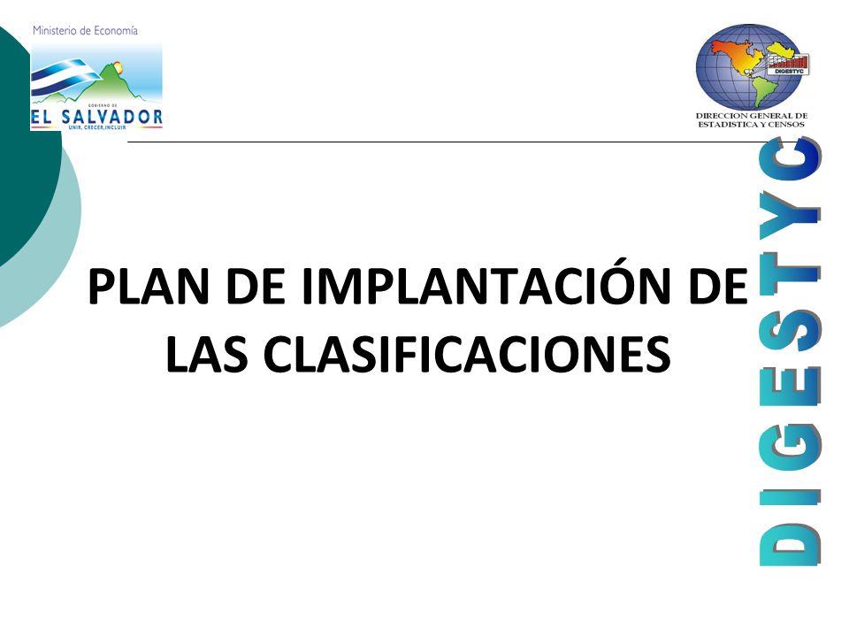 PLAN DE IMPLANTACIÓN DE LAS CLASIFICACIONES