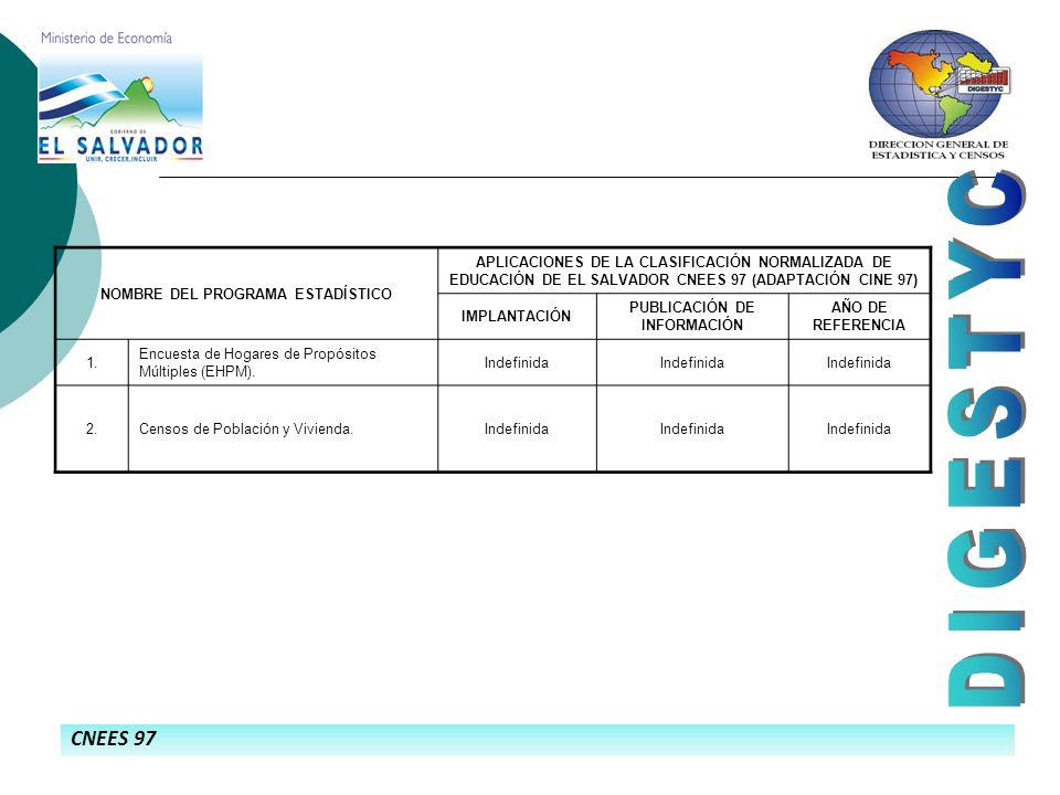 CNEES 97 NOMBRE DEL PROGRAMA ESTADÍSTICO APLICACIONES DE LA CLASIFICACIÓN NORMALIZADA DE EDUCACIÓN DE EL SALVADOR CNEES 97 (ADAPTACIÓN CINE 97) IMPLANTACIÓN PUBLICACIÓN DE INFORMACIÓN AÑO DE REFERENCIA 1.