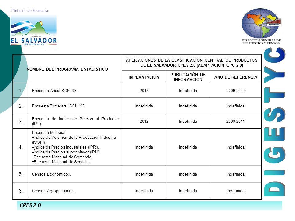 CPES 2.0 NOMBRE DEL PROGRAMA ESTADÍSTICO APLICACIONES DE LA CLASIFICACIÓN CENTRAL DE PRODUCTOS DE EL SALVADOR CPES 2.0 (ADAPTACIÓN CPC 2.0) IMPLANTACIÓN PUBLICACIÓN DE INFORMACIÓN AÑO DE REFERENCIA 1.