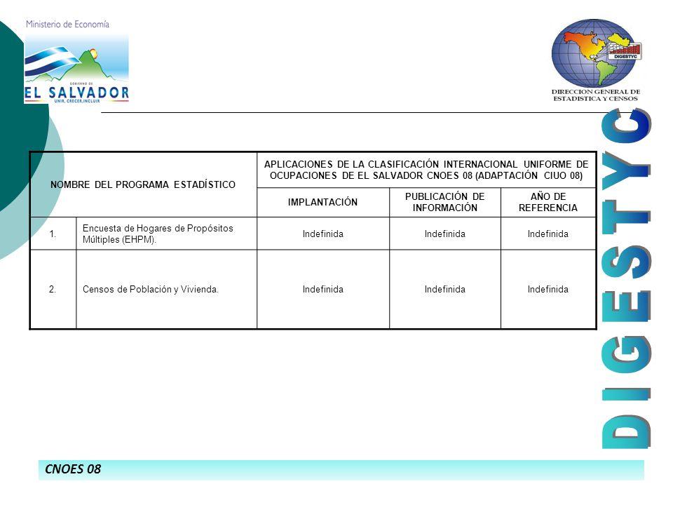CNOES 08 NOMBRE DEL PROGRAMA ESTADÍSTICO APLICACIONES DE LA CLASIFICACIÓN INTERNACIONAL UNIFORME DE OCUPACIONES DE EL SALVADOR CNOES 08 (ADAPTACIÓN CIUO 08) IMPLANTACIÓN PUBLICACIÓN DE INFORMACIÓN AÑO DE REFERENCIA 1.