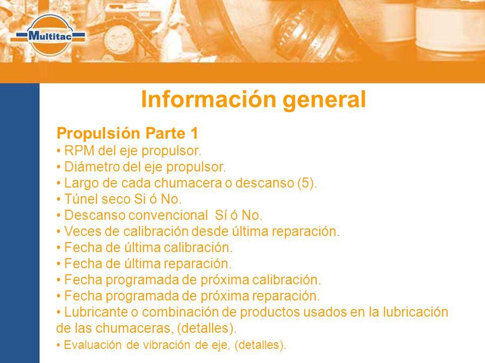 Información general Propulsión Parte 1 RPM del eje propulsor.