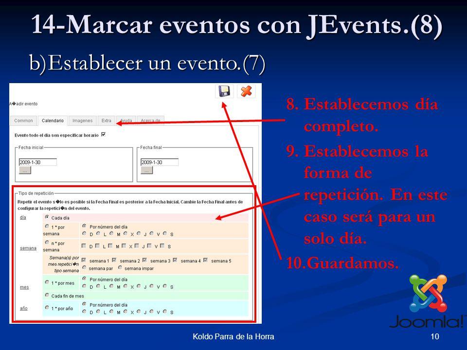 10Koldo Parra de la Horra b)Establecer un evento.(7) 14-Marcar eventos con JEvents.(8) 8.Establecemos día completo.