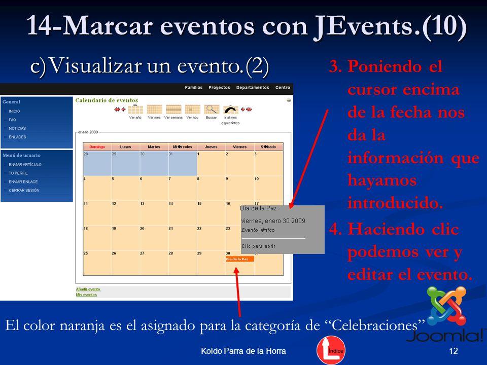 12Koldo Parra de la Horra c)Visualizar un evento.(2) 14-Marcar eventos con JEvents.(10) 3.Poniendo el cursor encima de la fecha nos da la información que hayamos introducido.