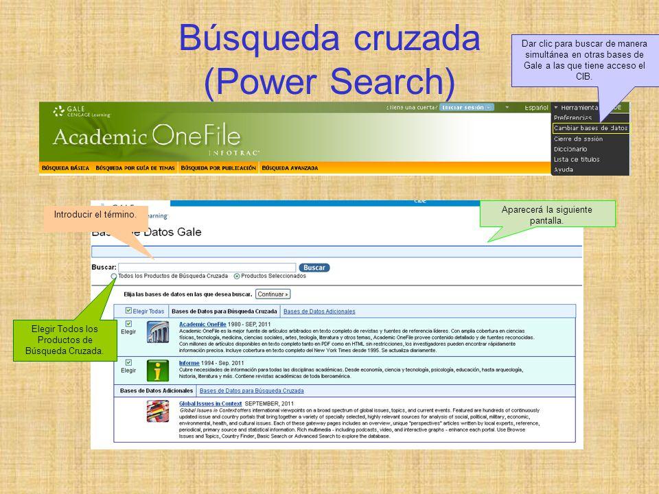 Búsqueda cruzada (Power Search) Dar clic para buscar de manera simultánea en otras bases de Gale a las que tiene acceso el CIB.