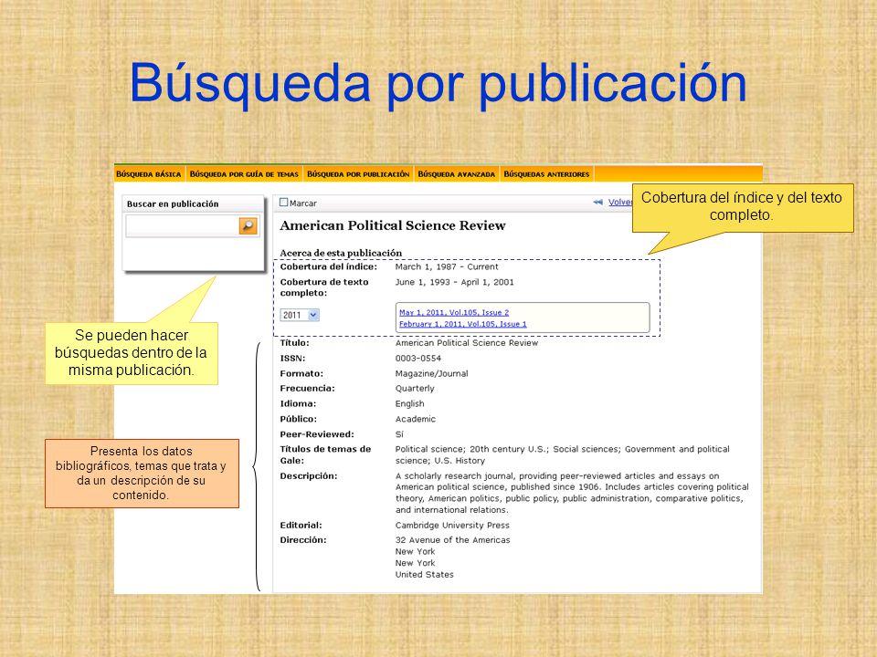 Búsqueda por publicación Cobertura del índice y del texto completo.