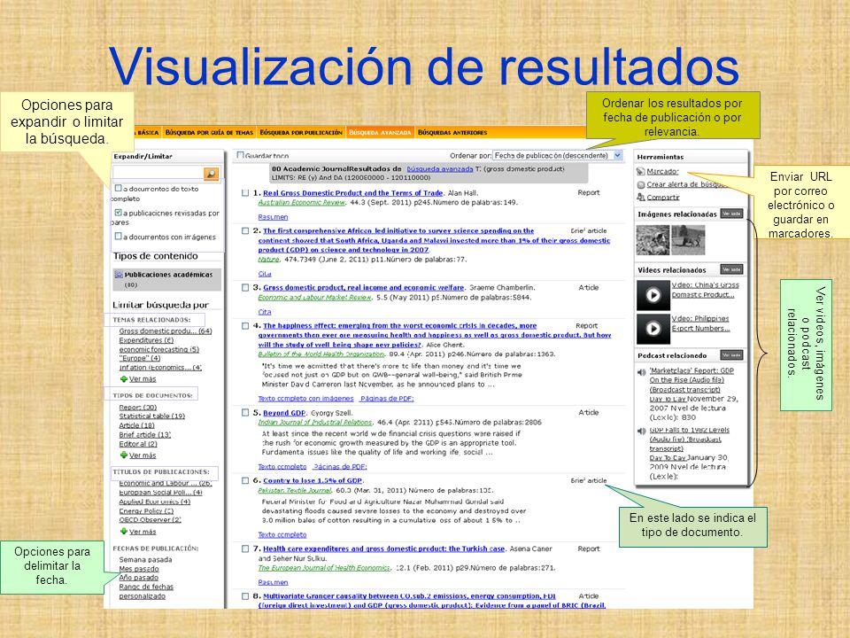 Visualización de resultados Opciones para expandir o limitar la búsqueda.