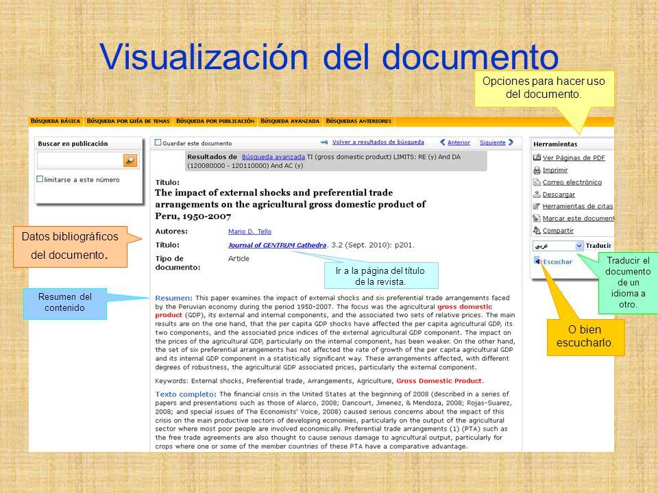 Visualización del documento Opciones para hacer uso del documento.