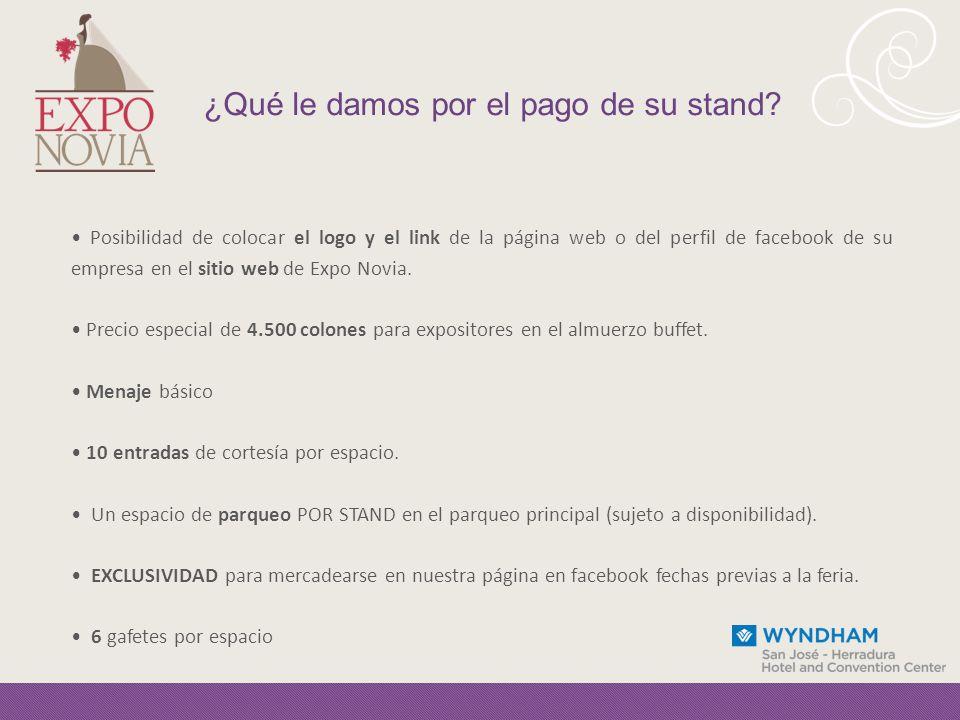 Posibilidad de colocar el logo y el link de la página web o del perfil de facebook de su empresa en el sitio web de Expo Novia.