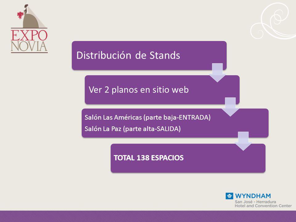 Distribución de Stands Ver 2 planos en sitio web Salón Las Américas (parte baja-ENTRADA) Salón La Paz (parte alta-SALIDA) TOTAL 138 ESPACIOS