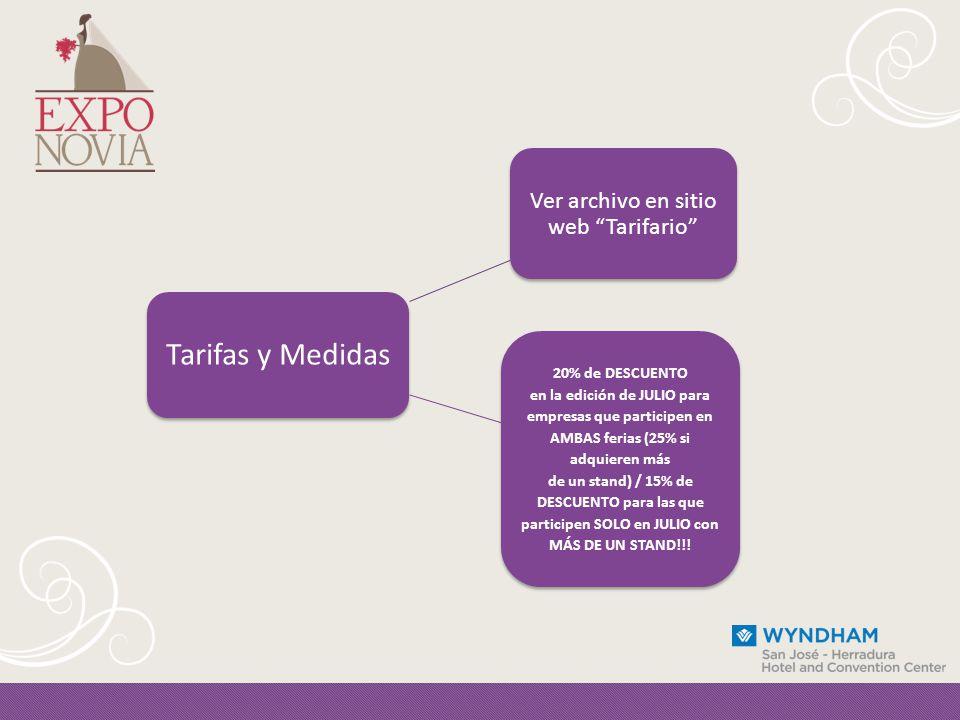 Tarifas y Medidas Ver archivo en sitio web Tarifario 20% de DESCUENTO en la edición de JULIO para empresas que participen en AMBAS ferias (25% si adquieren más de un stand) / 15% de DESCUENTO para las que participen SOLO en JULIO con MÁS DE UN STAND!!!