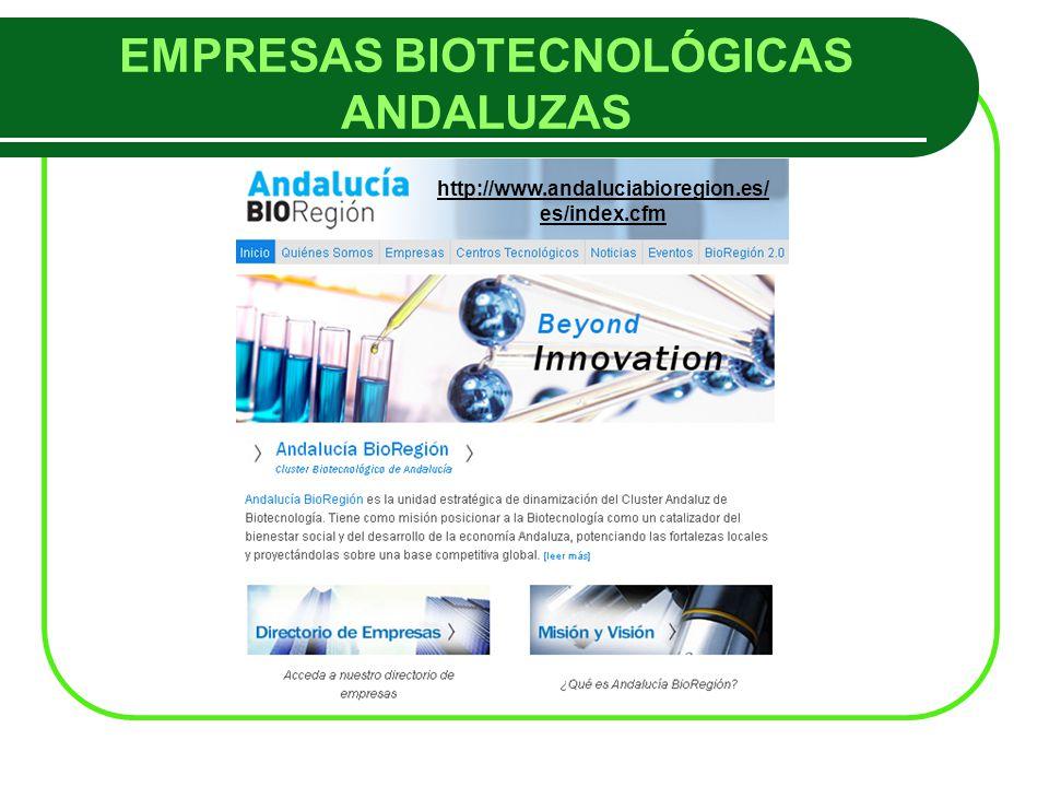 EMPRESAS BIOTECNOLÓGICAS ANDALUZAS http://www.andaluciabioregion.es/ es/index.cfm