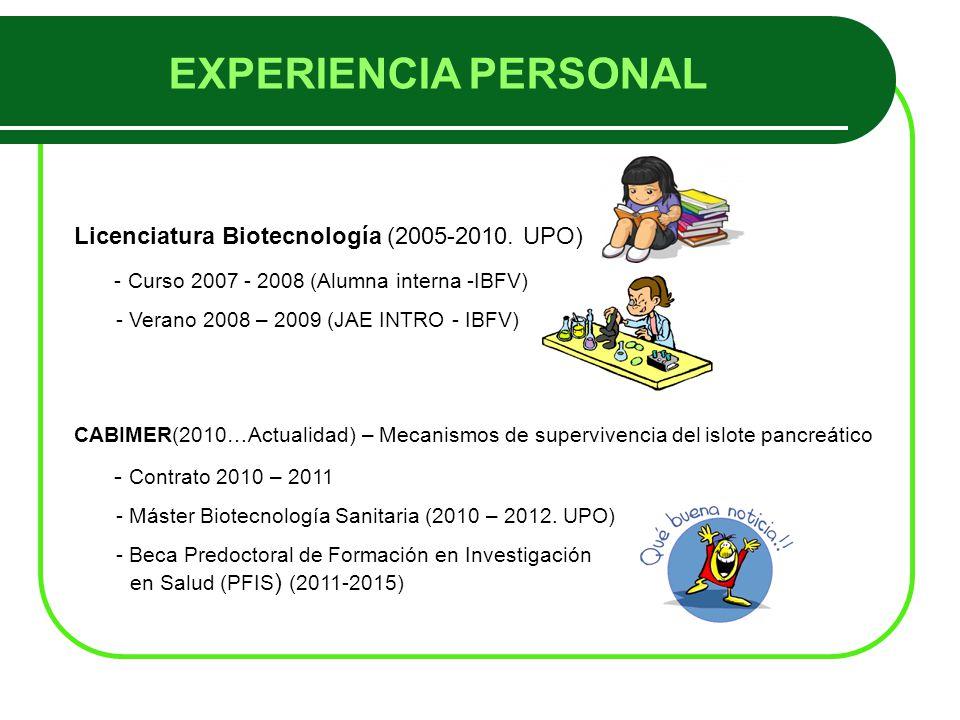 EXPERIENCIA PERSONAL Licenciatura Biotecnología (2005-2010.