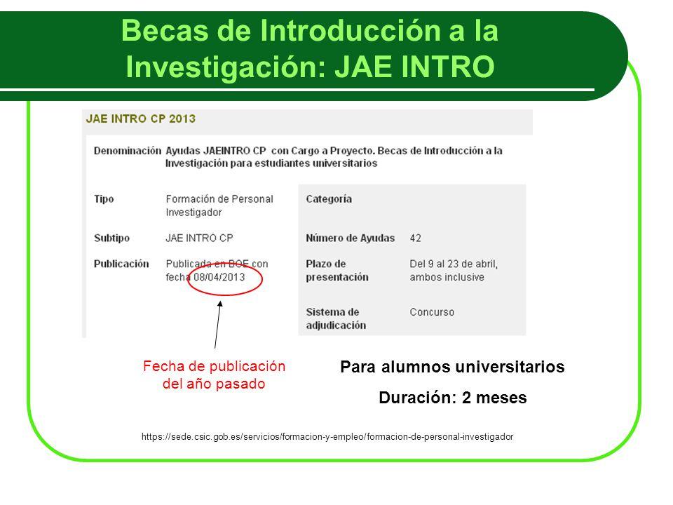 Becas de Introducción a la Investigación: JAE INTRO Fecha de publicación del año pasado https://sede.csic.gob.es/servicios/formacion-y-empleo/formacion-de-personal-investigador Para alumnos universitarios Duración: 2 meses