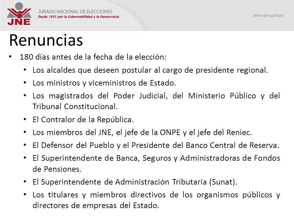 Renuncias 180 días antes de la fecha de la elección: Los alcaldes que deseen postular al cargo de presidente regional.