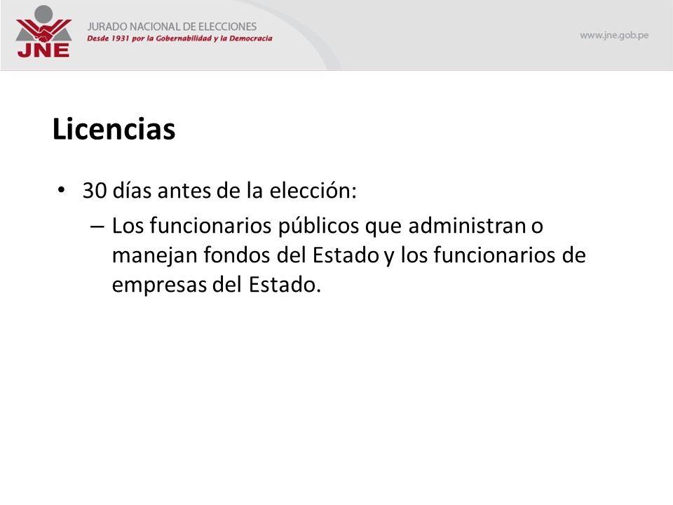 Licencias 30 días antes de la elección: – Los funcionarios públicos que administran o manejan fondos del Estado y los funcionarios de empresas del Estado.