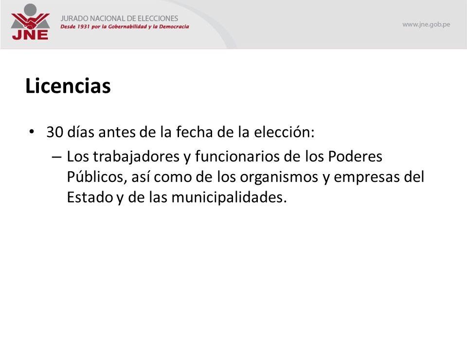 Licencias 30 días antes de la fecha de la elección: – Los trabajadores y funcionarios de los Poderes Públicos, así como de los organismos y empresas del Estado y de las municipalidades.