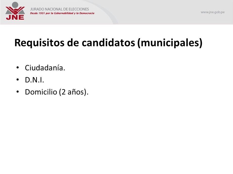 Requisitos de candidatos (municipales) Ciudadanía. D.N.I. Domicilio (2 años).
