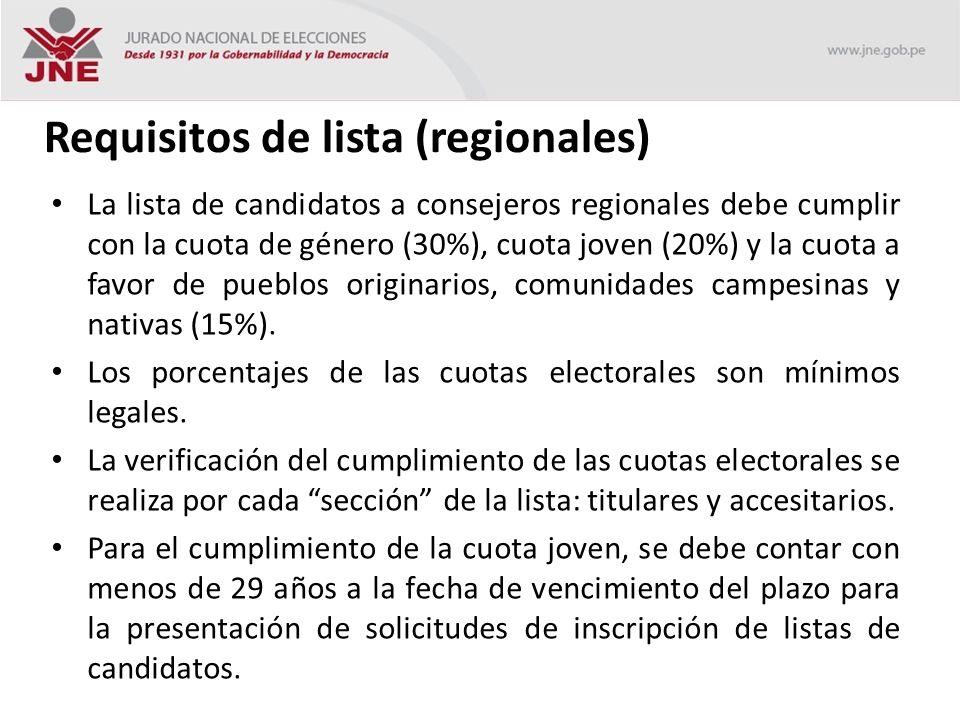 Requisitos de lista (regionales) La lista de candidatos a consejeros regionales debe cumplir con la cuota de género (30%), cuota joven (20%) y la cuota a favor de pueblos originarios, comunidades campesinas y nativas (15%).