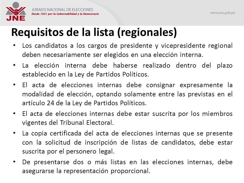 Requisitos de la lista (regionales) Los candidatos a los cargos de presidente y vicepresidente regional deben necesariamente ser elegidos en una elección interna.