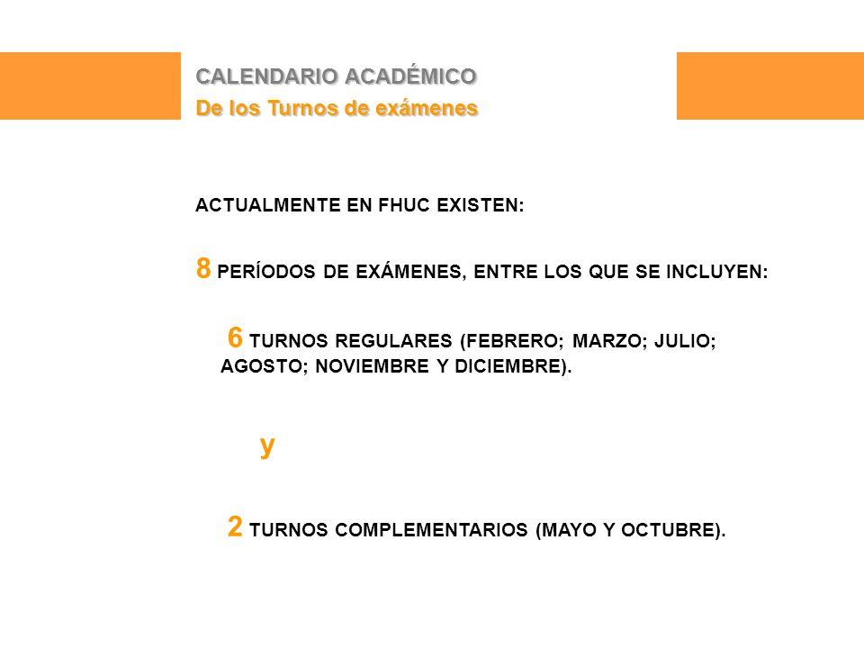 CALENDARIO ACADÉMICO De los Turnos de exámenes ACTUALMENTE EN FHUC EXISTEN: 8 PERÍODOS DE EXÁMENES, ENTRE LOS QUE SE INCLUYEN: 6 TURNOS REGULARES (FEBRERO; MARZO; JULIO; AGOSTO; NOVIEMBRE Y DICIEMBRE).