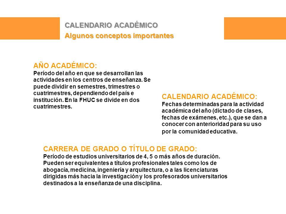 CALENDARIO ACADÉMICO Algunos conceptos importantes AÑO ACADÉMICO: Período del año en que se desarrollan las actividades en los centros de enseñanza.
