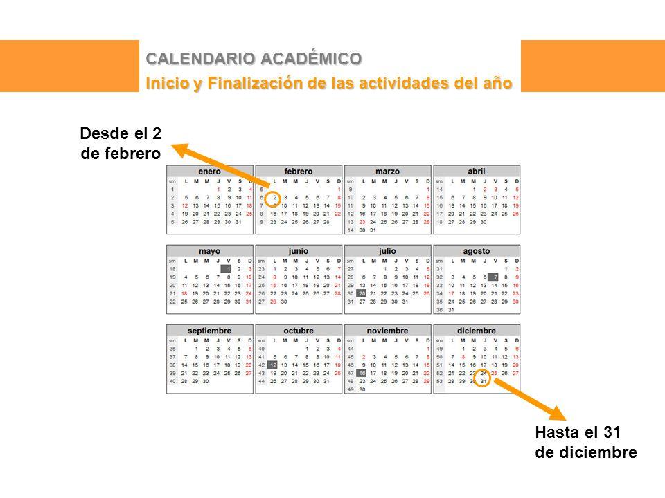 CALENDARIO ACADÉMICO Inicio y Finalización de las actividades del año Desde el 2 de febrero Hasta el 31 de diciembre