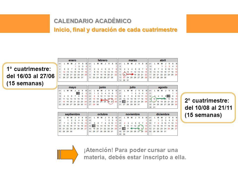 CALENDARIO ACADÉMICO Inicio, final y duración de cada cuatrimestre 2° cuatrimestre: del 10/08 al 21/11 (15 semanas) 1° cuatrimestre: del 16/03 al 27/06 (15 semanas) ¡Atención.