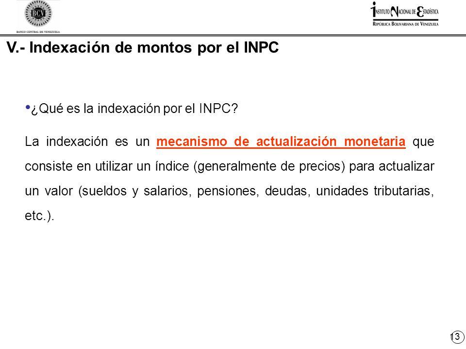 13 V.- Indexación de montos por el INPC ¿Qué es la indexación por el INPC.