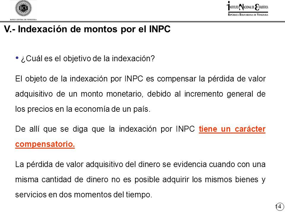 14 V.- Indexación de montos por el INPC ¿Cuál es el objetivo de la indexación.