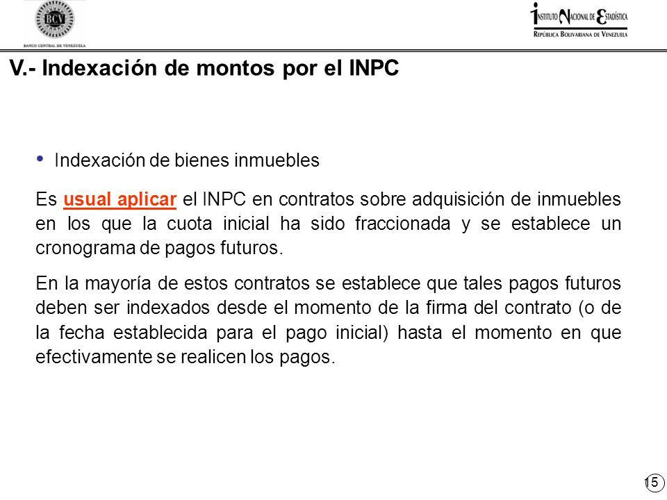 15 V.- Indexación de montos por el INPC Indexación de bienes inmuebles Es usual aplicar el INPC en contratos sobre adquisición de inmuebles en los que la cuota inicial ha sido fraccionada y se establece un cronograma de pagos futuros.