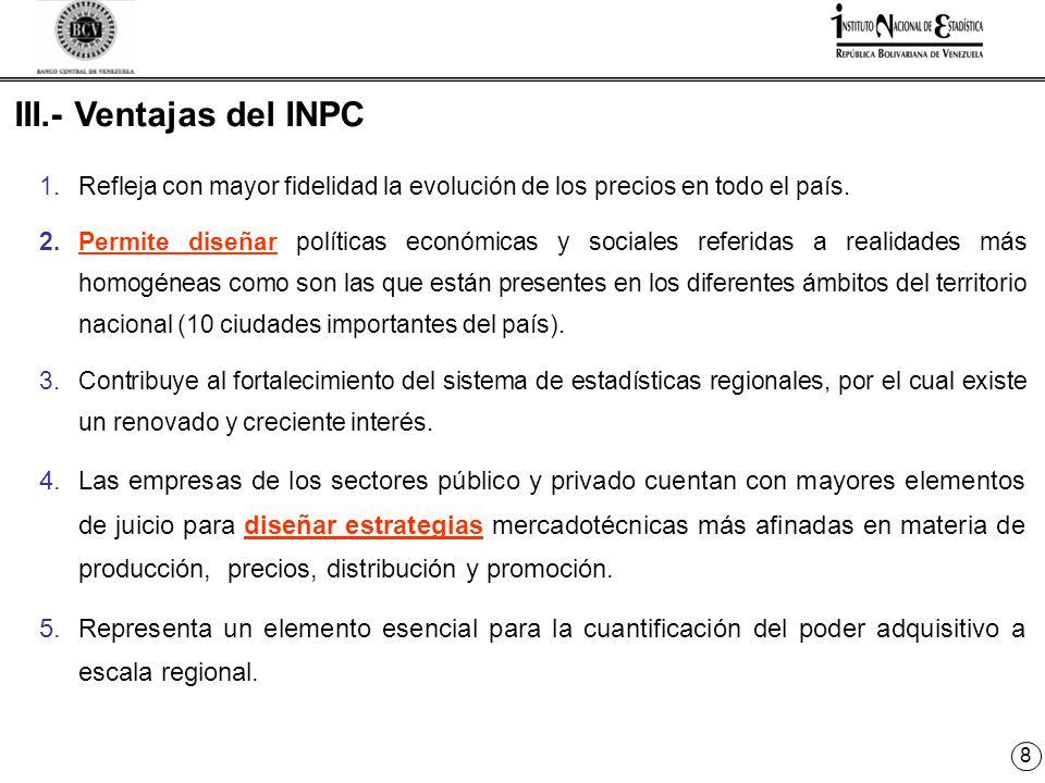 8 III.- Ventajas del INPC 1.Refleja con mayor fidelidad la evolución de los precios en todo el país.