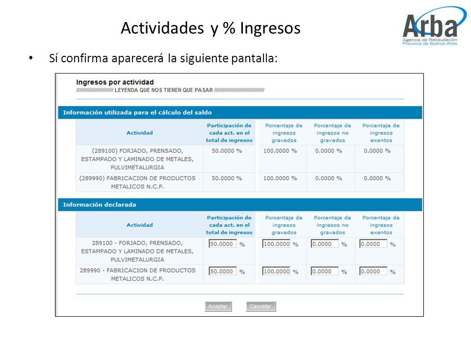 Actividades y % Ingresos Sí confirma aparecerá la siguiente pantalla: