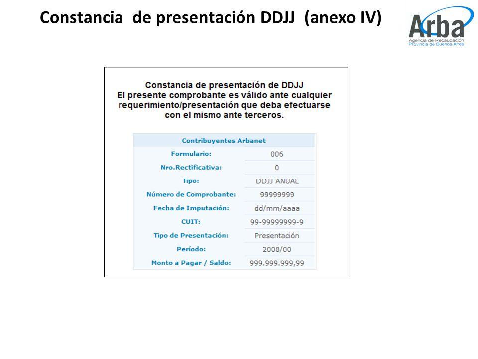 Constancia de presentación DDJJ (anexo IV)