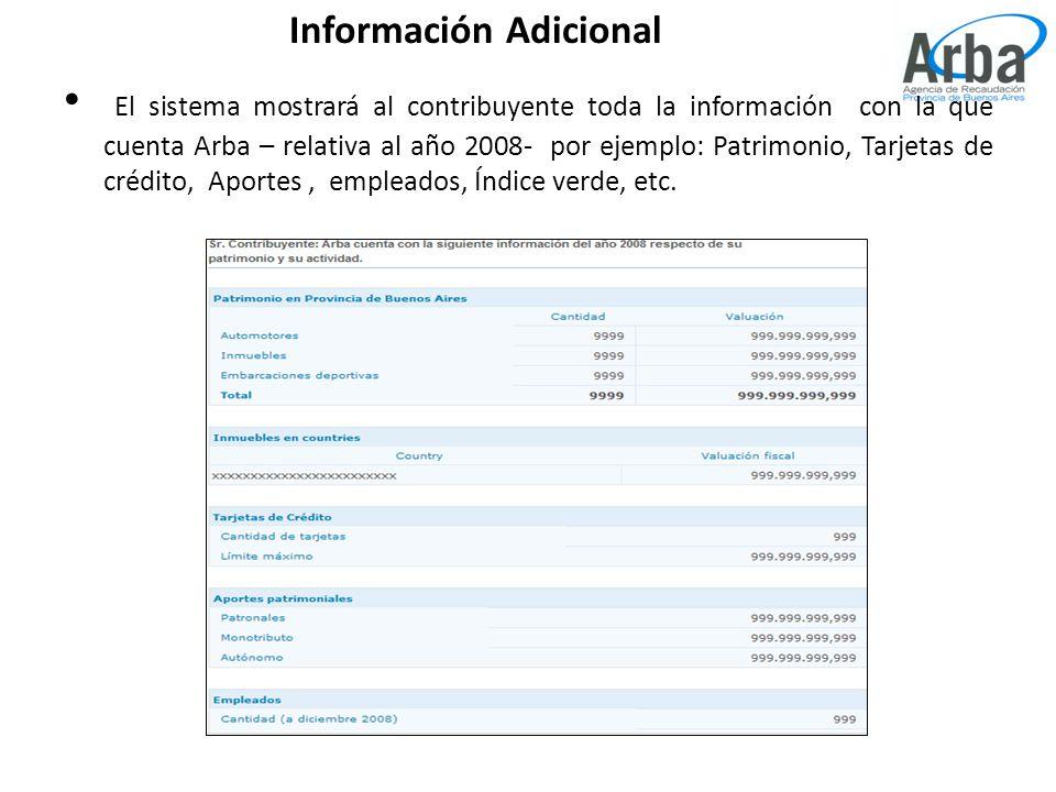 Información Adicional El sistema mostrará al contribuyente toda la información con la que cuenta Arba – relativa al año 2008- por ejemplo: Patrimonio, Tarjetas de crédito, Aportes, empleados, Índice verde, etc.
