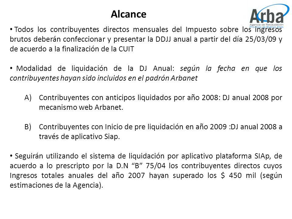 Alcance Todos los contribuyentes directos mensuales del Impuesto sobre los ingresos brutos deberán confeccionar y presentar la DDJJ anual a partir del día 25/03/09 y de acuerdo a la finalización de la CUIT Modalidad de liquidación de la DJ Anual: según la fecha en que los contribuyentes hayan sido incluidos en el padrón Arbanet A)Contribuyentes con anticipos liquidados por año 2008: DJ anual 2008 por mecanismo web Arbanet.