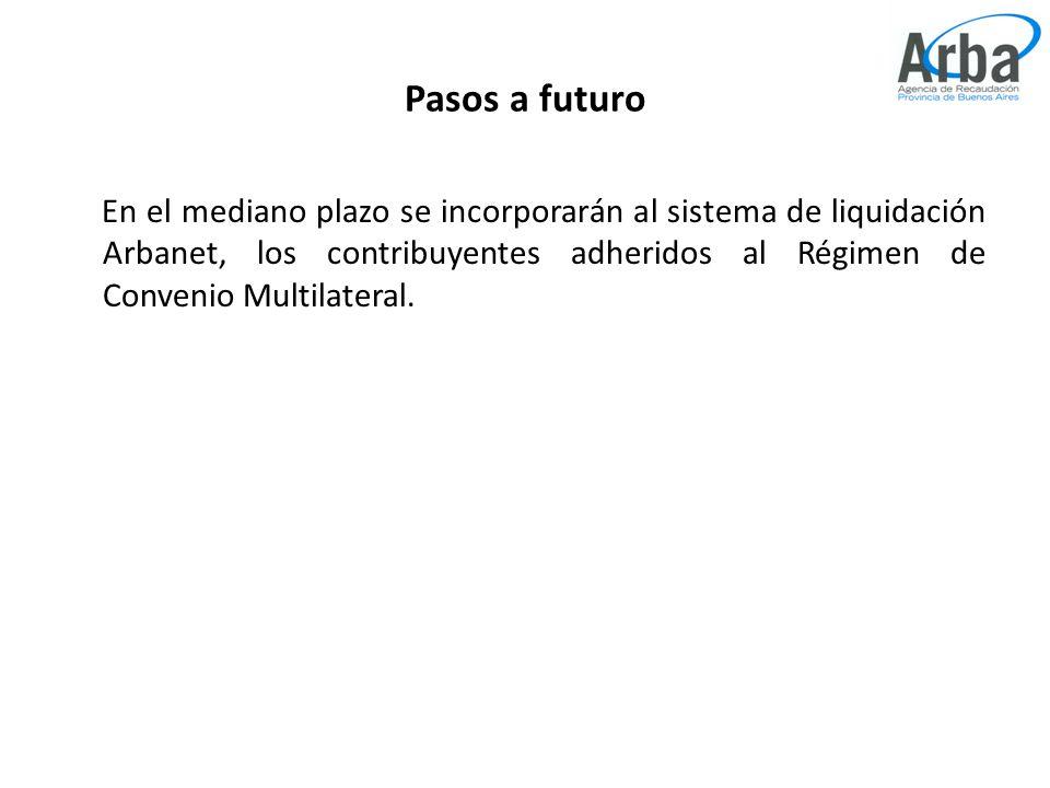 Pasos a futuro En el mediano plazo se incorporarán al sistema de liquidación Arbanet, los contribuyentes adheridos al Régimen de Convenio Multilateral.