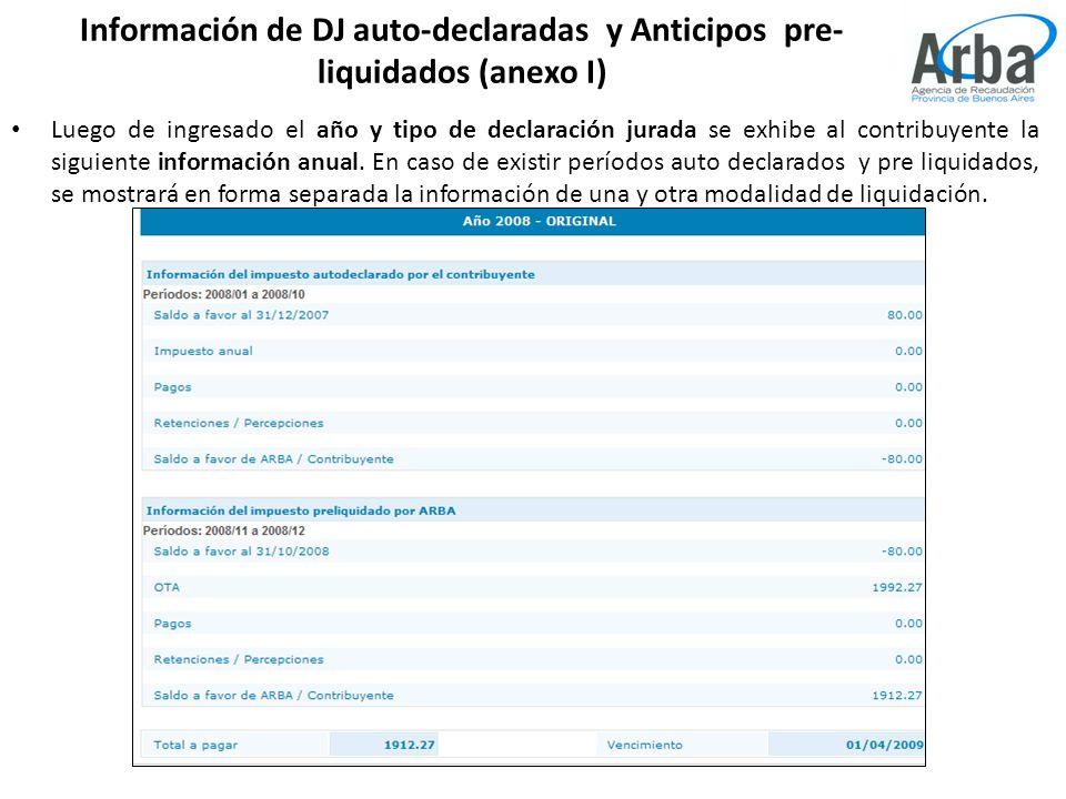 Información de DJ auto-declaradas y Anticipos pre- liquidados (anexo I) Luego de ingresado el año y tipo de declaración jurada se exhibe al contribuyente la siguiente información anual.