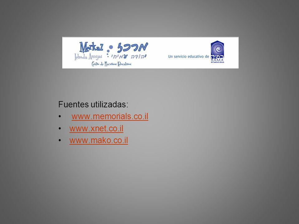 Fuentes utilizadas: www.memorials.co.il www.xnet.co.il www.mako.co.il