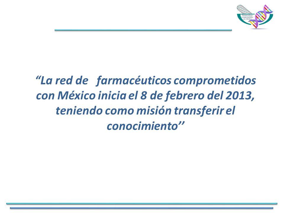 La red de farmacéuticos comprometidos con México inicia el 8 de febrero del 2013, teniendo como misión transferir el conocimiento''