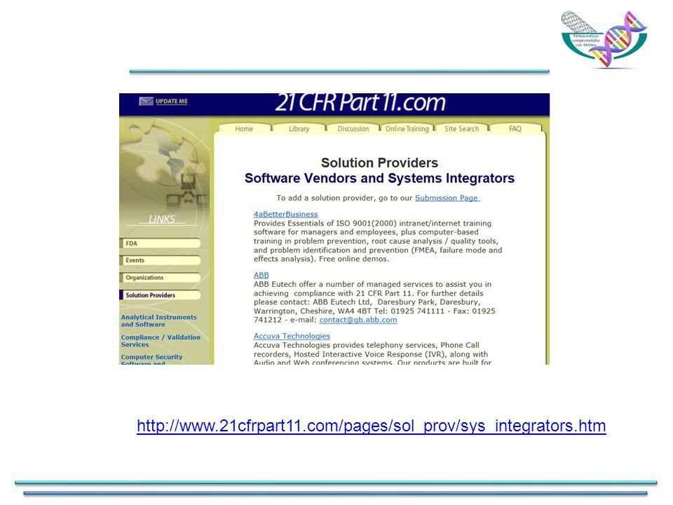 http://www.21cfrpart11.com/pages/sol_prov/sys_integrators.htm