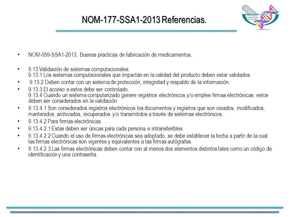 NOM-177-SSA1-2013 Referencias. NOM-059-SSA1-2013, Buenas practicas de fabricación de medicamentos.