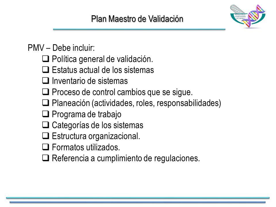 Plan Maestro de Validación PMV – Debe incluir:  Política general de validación.
