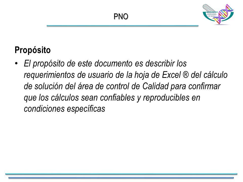 PNO Propósito El propósito de este documento es describir los requerimientos de usuario de la hoja de Excel ® del cálculo de solución del área de control de Calidad para confirmar que los cálculos sean confiables y reproducibles en condiciones específicas