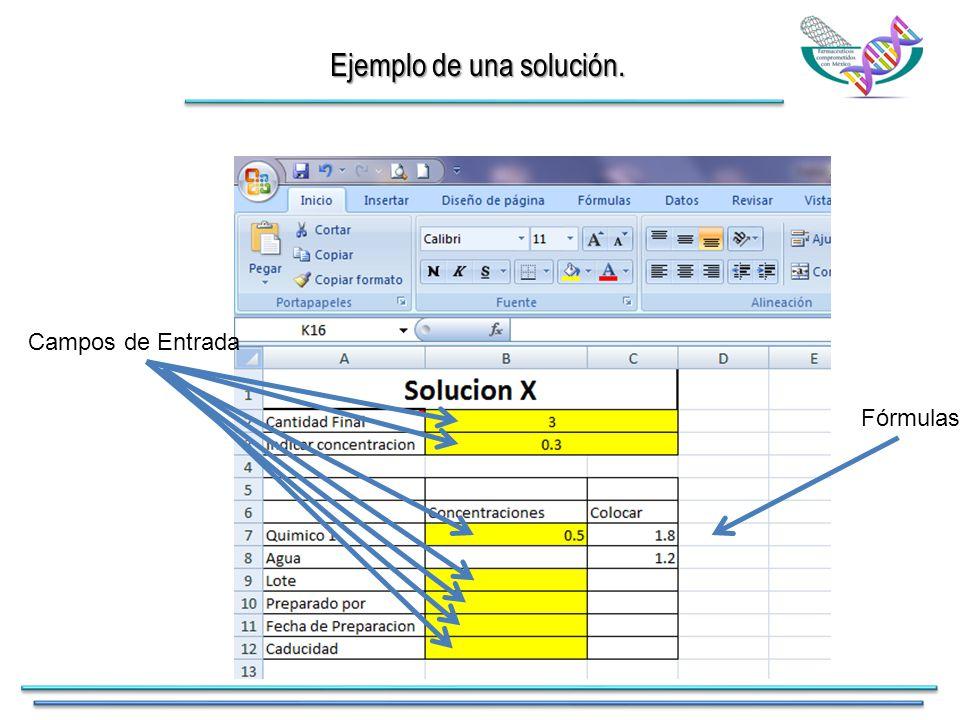Ejemplo de una solución. Fórmulas Campos de Entrada