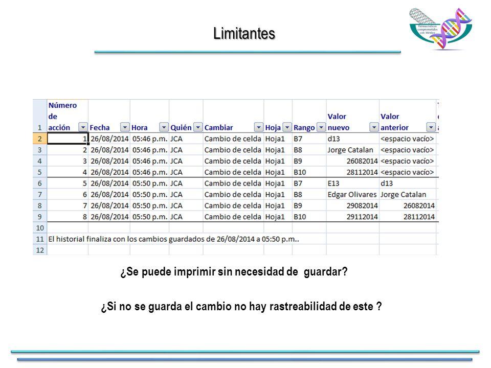 Limitantes ¿Se puede imprimir sin necesidad de guardar.