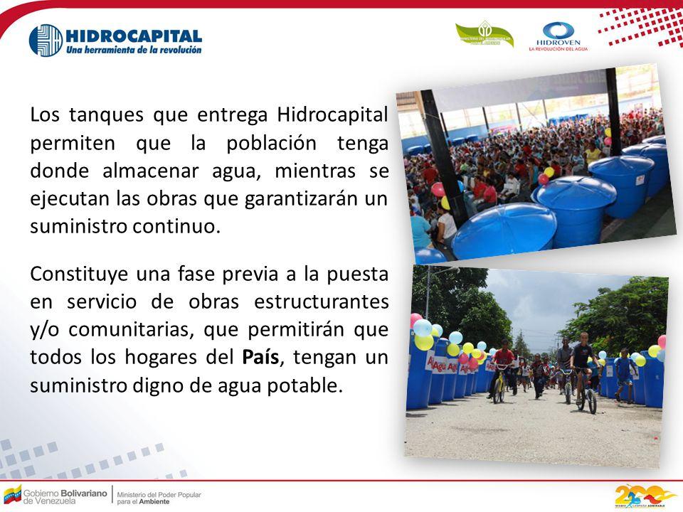 Los tanques que entrega Hidrocapital permiten que la población tenga donde almacenar agua, mientras se ejecutan las obras que garantizarán un suministro continuo.