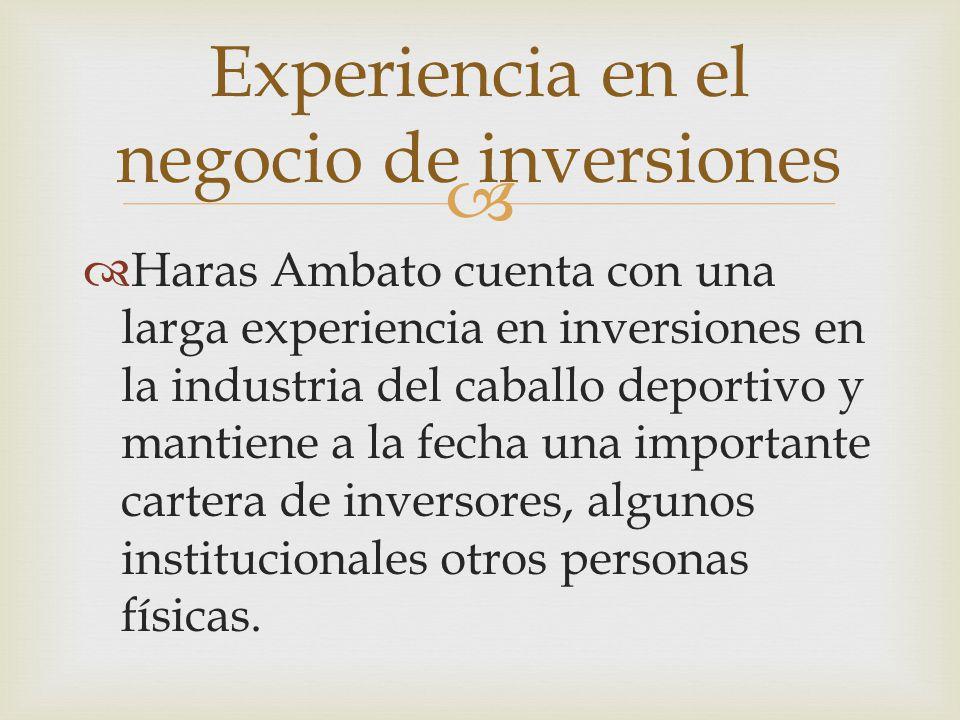   Haras Ambato cuenta con una larga experiencia en inversiones en la industria del caballo deportivo y mantiene a la fecha una importante cartera de inversores, algunos institucionales otros personas físicas.