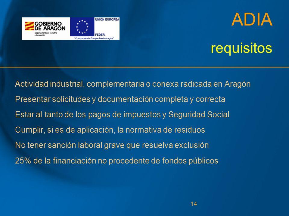 14 ADIA requisitos Actividad industrial, complementaria o conexa radicada en Aragón Presentar solicitudes y documentación completa y correcta Estar al tanto de los pagos de impuestos y Seguridad Social Cumplir, si es de aplicación, la normativa de residuos No tener sanción laboral grave que resuelva exclusión 25% de la financiación no procedente de fondos públicos