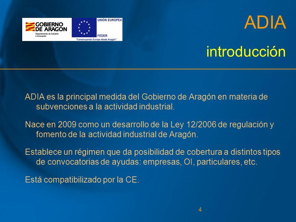 4 ADIA introducción ADIA es la principal medida del Gobierno de Aragón en materia de subvenciones a la actividad industrial.