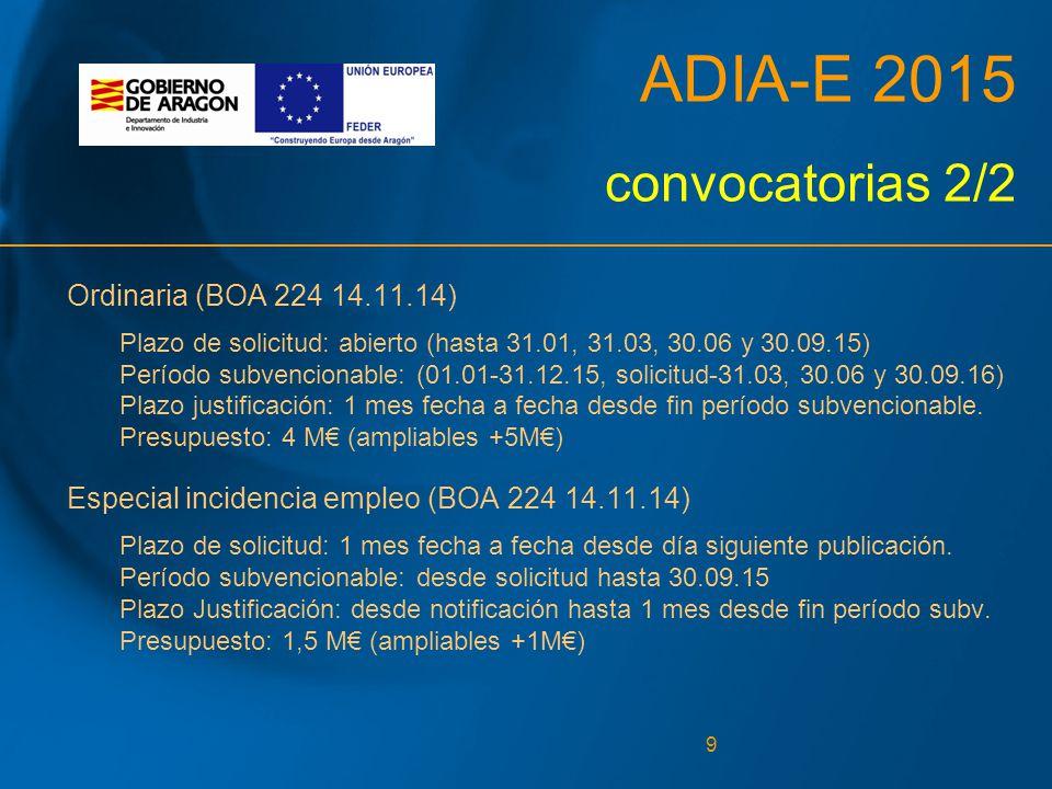 9 ADIA-E 2015 convocatorias 2/2 Ordinaria (BOA 224 14.11.14) Plazo de solicitud: abierto (hasta 31.01, 31.03, 30.06 y 30.09.15) Período subvencionable: (01.01-31.12.15, solicitud-31.03, 30.06 y 30.09.16) Plazo justificación: 1 mes fecha a fecha desde fin período subvencionable.